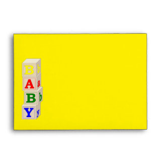 Baby Blocks Yellow and Blue Baby Shower Envelope