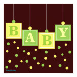 BABY Blocks Yellow Green Neutral Baby Shower 5.25x5.25 Square Paper Invitation Card