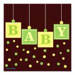 BABY Blocks Yellow Green Neutral Baby Shower Invitation