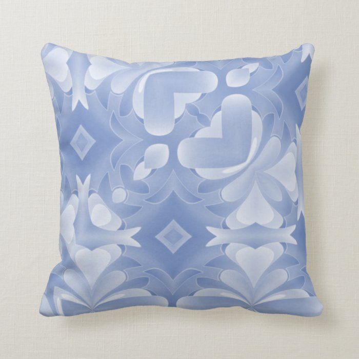 Baby Blue Decorative Pillow : Baby Blue Abstract Hearts and Diamonds Throw Pillow Zazzle