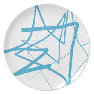 Baby Blue Abstract Line-art Plate