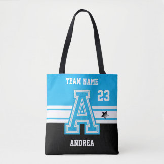 Baby Blue and Black All Varsity Sport Letters Tote Bag