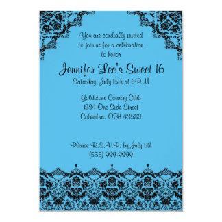 Baby Blue and Black Elegant Sweet16 Invitation