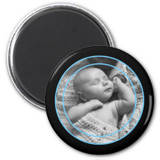 Baby Blue and Black Photo Frame Refrigerator Magnets