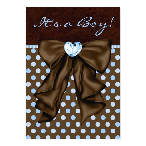 baby blue and brown baby shower 5 x 7 invitation card zazzle