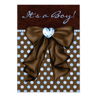 """Baby Blue and Brown Baby Shower 5"""" X 7"""" Invitation Card"""