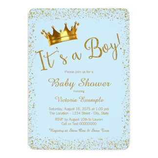 baby blue and gold baby shower card