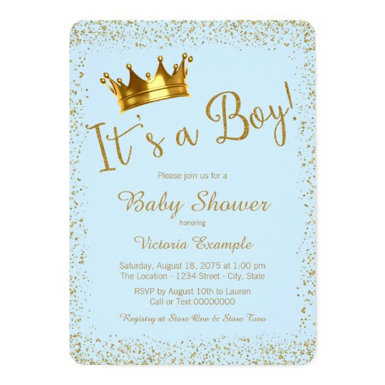 baby blue and gold baby shower card | zazzle,