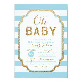 Baby Blue And Gold Baby Shower Invitation, Boy Card