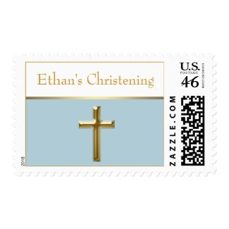 Baby Blue and Gold Christening Postage Stamps