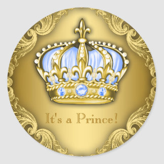 Baby Blue and Gold Prince Baby Shower Classic Round Sticker