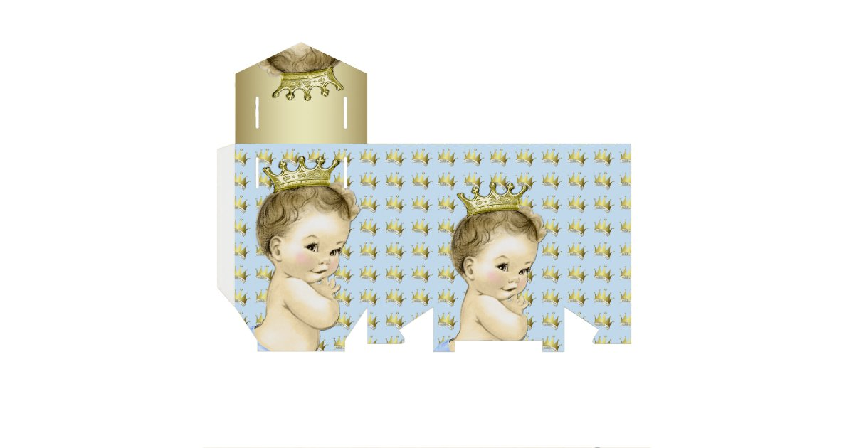 Prince baby shower favor boxes : Baby blue and gold prince shower favor box zazzle