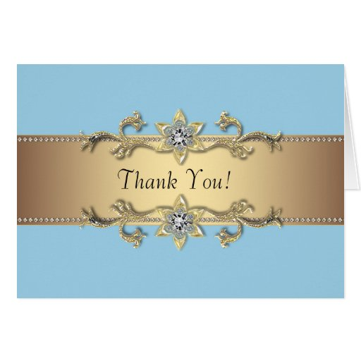 Baby Blue and Gold Thank You Cards Note Card