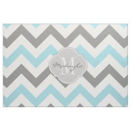 Baby Blue and Gray Chevron with Monogram Fabric
