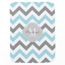 Baby Blue and Gray Chevron with Monogram Stroller Blanket