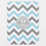 Baby Blue And Gray Chevron With Monogram Swaddle Blanket at Zazzle