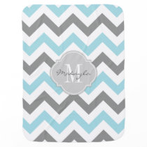 Baby Blue and Gray Chevron with Monogram Swaddle Blanket