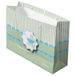 Baby Blue and Green Buggy - Baby Boy Shower Large Gift Bag