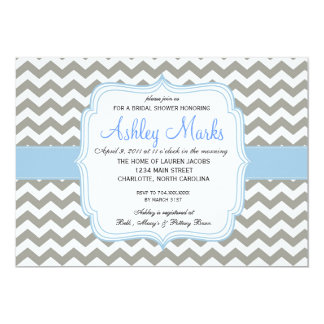 Baby Blue and Grey Chevron Invitation