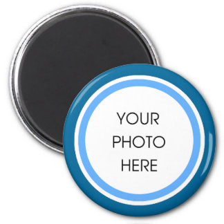 Baby Blue and Navy Photo Frame 2 Inch Round Magnet