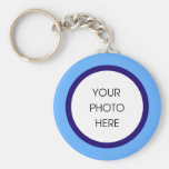 Baby Blue and Navy Photo Keychain