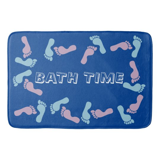Baby Blue And Pink Footprints Bathroom Mat Zazzle