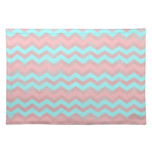 Baby Blue And Pink Girly Chevron Pattern Cloth Place Mat