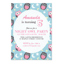 Baby Blue and Pink Owl Cartoon Birthday Invitation