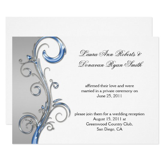 Baby Blue and Silver Ornate Post Wedding Invitation