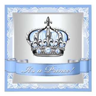 Baby Blue and Silver Prince Baby Shower Card