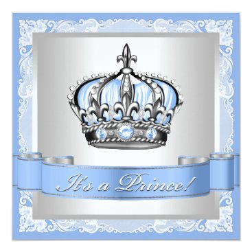 Toddler & Baby themed Baby Blue and Silver Prince Baby Shower Card