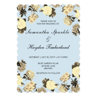 Baby Blue and Vintage Floral Wedding Card