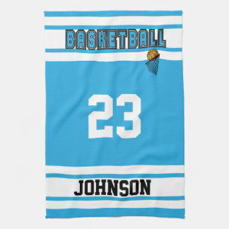 Baby Blue and White Basketball Kitchen Towel
