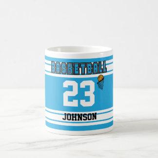 Baby Blue and White Basketball Sport Jersey Coffee Mug