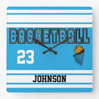 Baby Blue and White Basketball Square Wall Clock