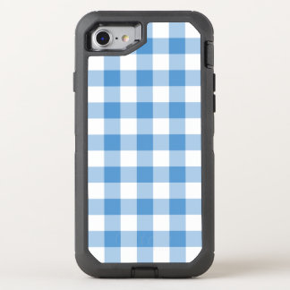 Baby Blue and White Buffalo Plaid OtterBox Defender iPhone 7 Case
