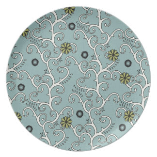 Baby Blue and White Flower Vines Plates