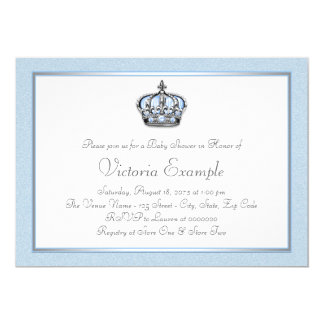 Baby Blue and White Prince Baby Shower Card