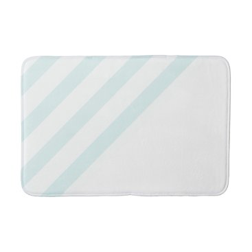 Beach Themed Baby Blue and White Stripes Bathroom Mat 4