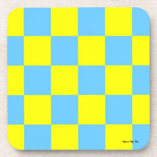 Baby Blue and Yellow Checkered Coasters
