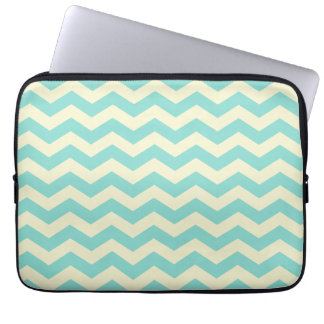 Baby Blue and Yellow Zig Zag Pattern Laptop Computer Sleeves