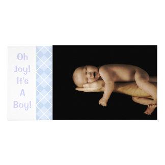 Baby Blue Argyle - Oh Joy It s A Boy Photo Greeting Card