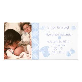 Baby Blue Argyle - Oh Joy It s A Boy Custom Photo Card