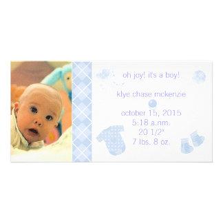 Baby Blue Argyle - Oh Joy! It's A Boy! Card