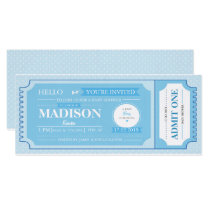 Baby Blue Baby Shower Event Ticket Invitation