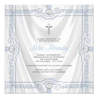 Baby Blue Baptism Christening White Satin Card