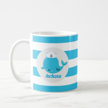 Beach Themed Baby blue beach whale add name monogram mug