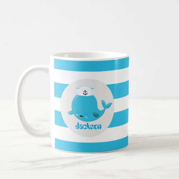 Baby blue beach whale add name monogram mug