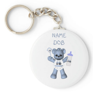 Baby Blue Bear and Blue Tractor Keychain