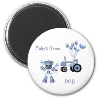 Baby Blue Bear and Blue Tractor Magnet